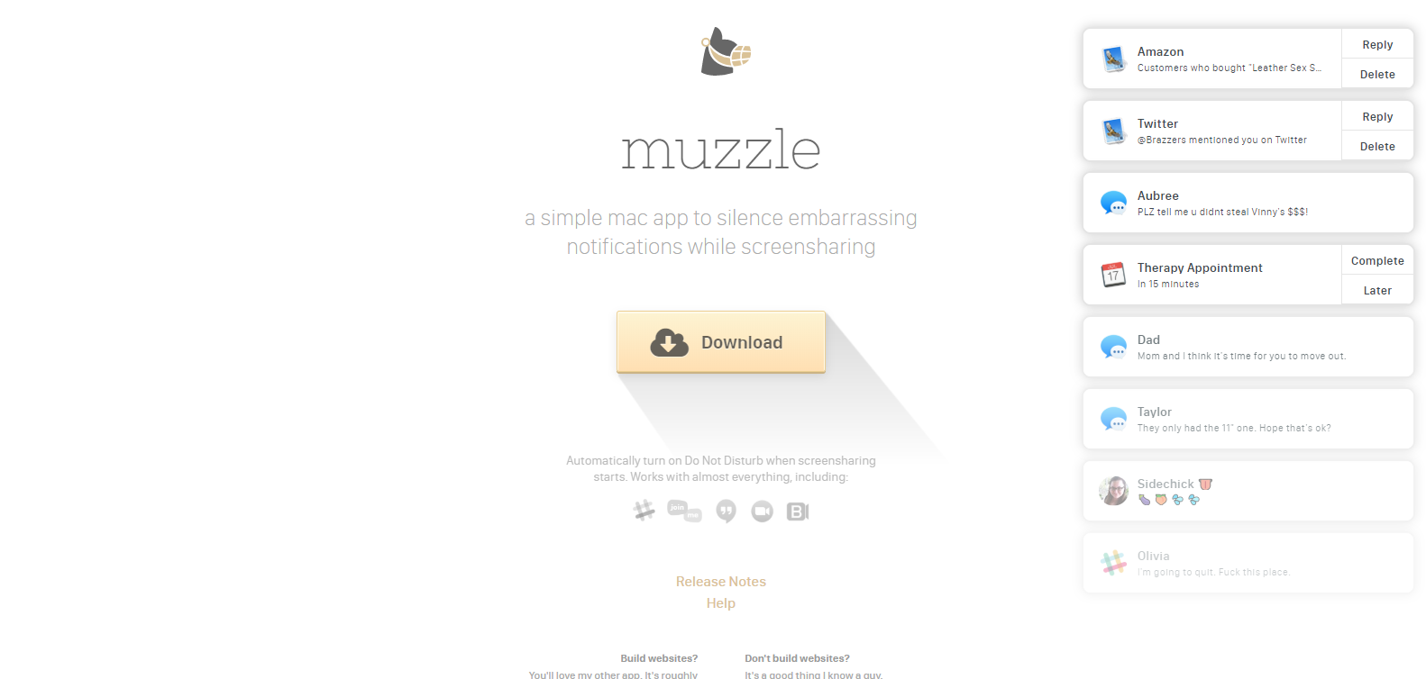 7 examples of landing pages - muzzle
