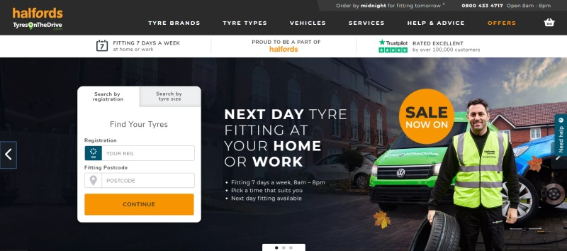 7 examples of landing pages - tyres on the drive