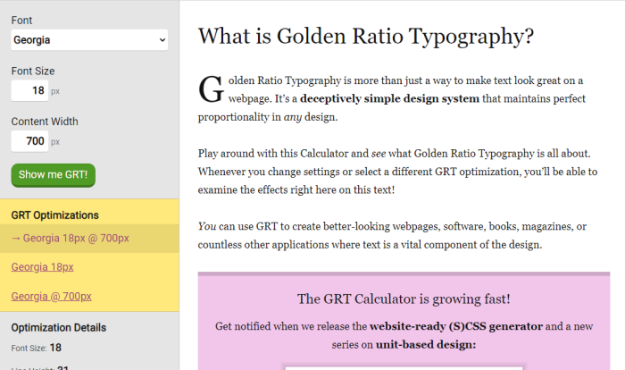 golden ratio typography