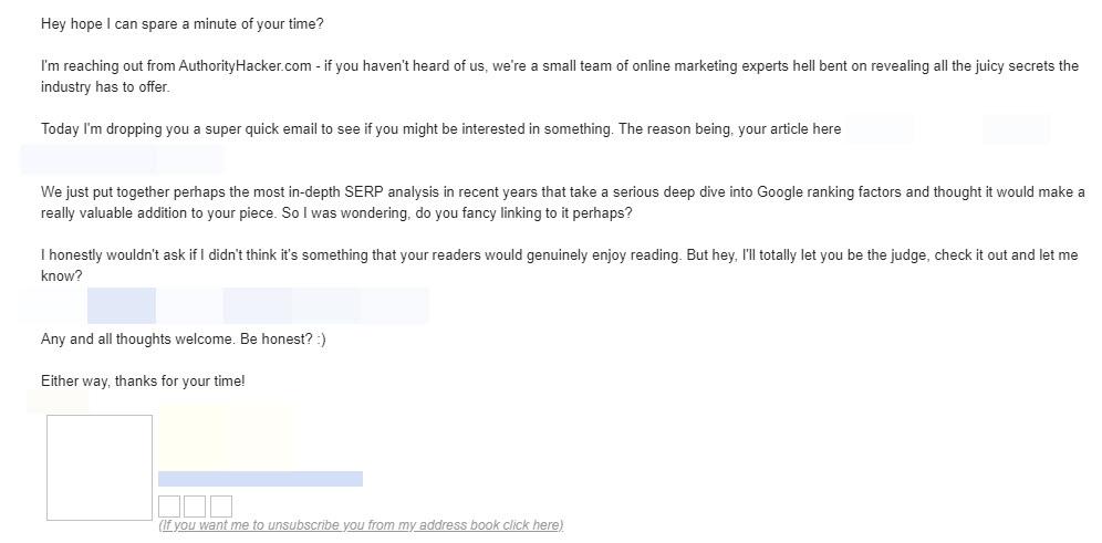 blogger outreach example